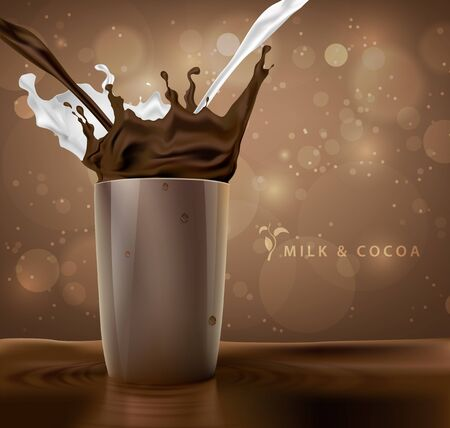 leche: salpicaduras de leche con cacao y chocolate de fondo con la taza de café Vectores
