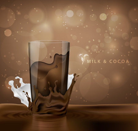 dark chocolate: splashes of milk with cocoa and chocolate background with coffee cup