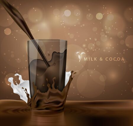 fountains: splashes of milk with cocoa and chocolate background with coffee cup