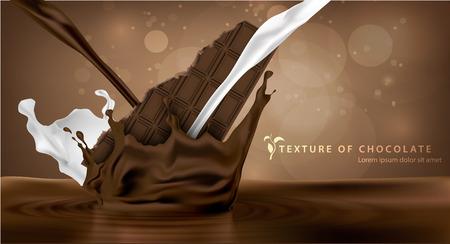 Douce barre de chocolat chocolat tomber dans le lait avec des touches Banque d'images - 44430728
