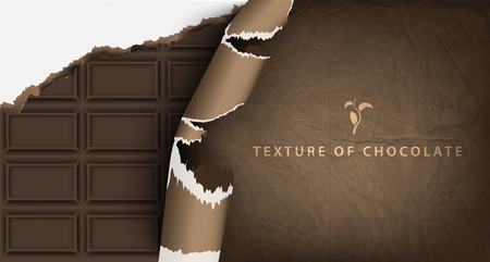 texture of chocolate bar in paper packaging Illustration
