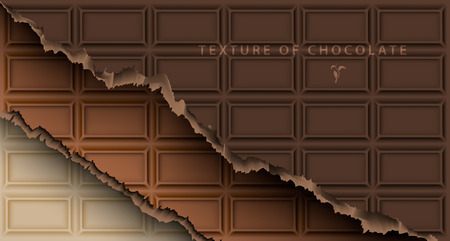 choc: texture of white, milk and dark chocolate bar with broken ends