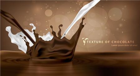 achtergrond zoete chocolade melk en spuiten textuur Stock Illustratie