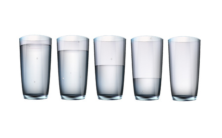 glass water: set of five cups of water with filling