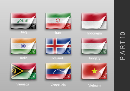 world flag: 22 set of flags of all the countries tattered masking tape