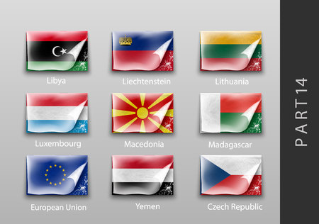 all european flags: 22 set of flags of all the countries tattered masking tape
