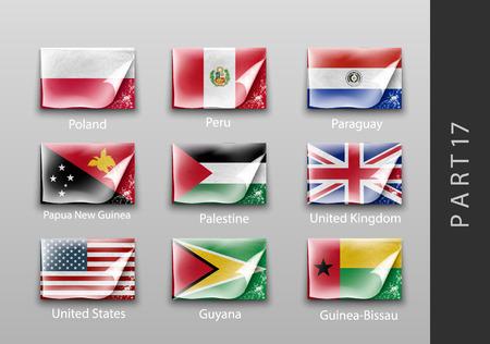 masking: 22 conjunto de banderas de todos los pa�ses tattered cinta adhesiva