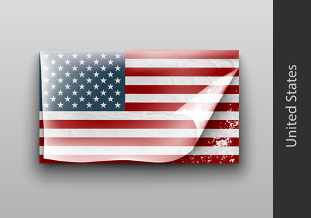 us independance: US flag with the tattered masking tape Illustration