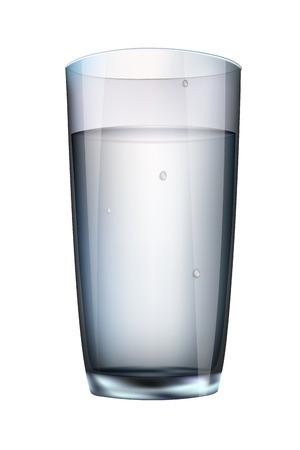 vaso con agua: el agua en un vaso aislado sobre fondo blanco