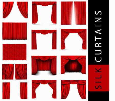 cortinas: conjunto de vectores de cortinas de seda de color rojo con luz y sombras de la abierta y cerrada, Pelmet