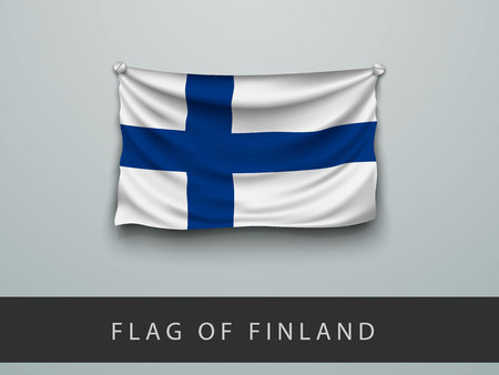 screwed: Finland flag battered, hung on the wall, screwed screws Illustration