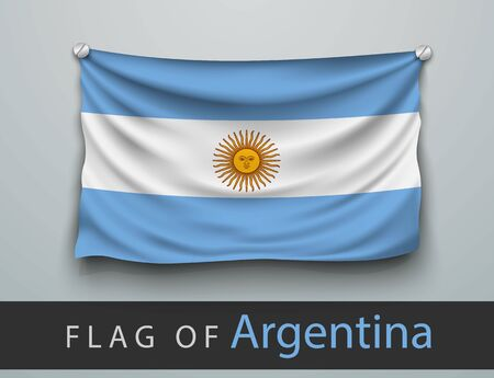 battered: FLAG OF argentina battered, hung on the wall, screwed screws