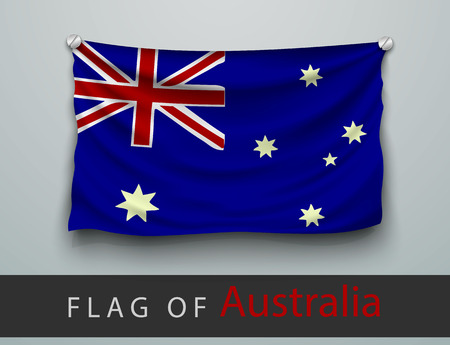 screwed: FLAG OF australia battered, hung on the wall, screwed screws
