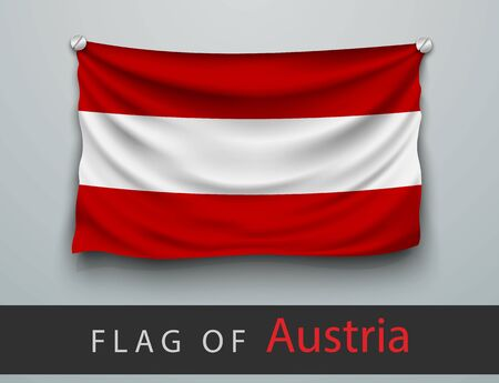 screwed: FLAG OF austria battered, hung on the wall, screwed screws