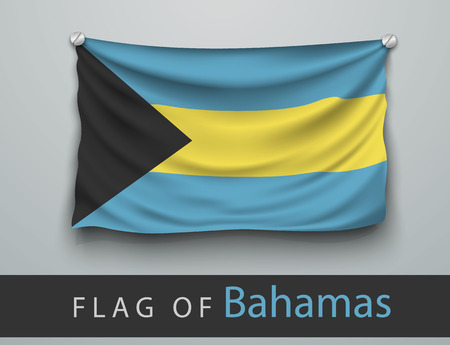 screwed: FLAG OF bahamas battered, hung on the wall, screwed screws Illustration