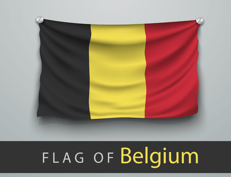 FLAG OF belgium battered, hung on the wall, screwed screws