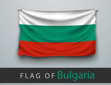 screwed: FLAG OF bulgaria battered, hung on the wall, screwed screws