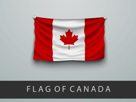 screwed: FLAG OF CANADA battered, hung on the wall, screwed screws Illustration