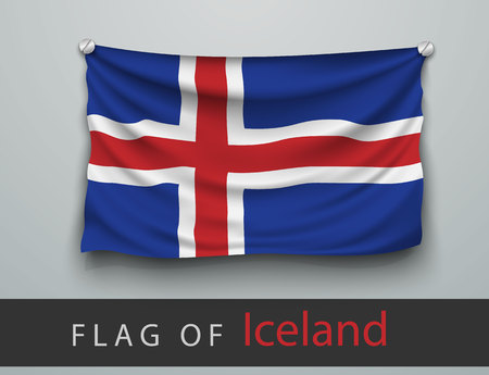 screwed: FLAG OF iceland battered, hung on the wall, screwed screws