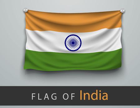 bandera de la india: Bandera de la India maltratadas, colgado en la pared, atornillado tornillos Vectores