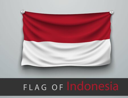screwed: FLAG OF Indonesia battered, hung on the wall, screwed screws Illustration