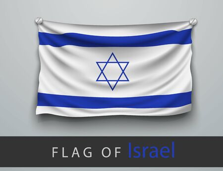 screwed: FLAG OF israel battered, hung on the wall, screwed screws