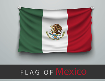 FLAG OF mexico battered, hung on the wall, screwed screws
