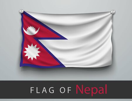 battered: FLAG OF NEPAL battered, hung on the wall, screwed screws