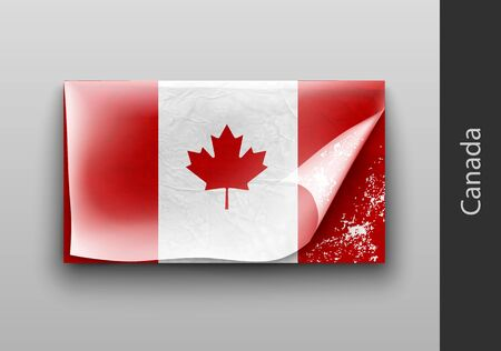 ragged: Flag of Canada with the tattered masking tape