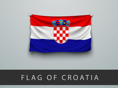 screwed: FLAG OF CROATIA battered, hung on the wall, screwed screws