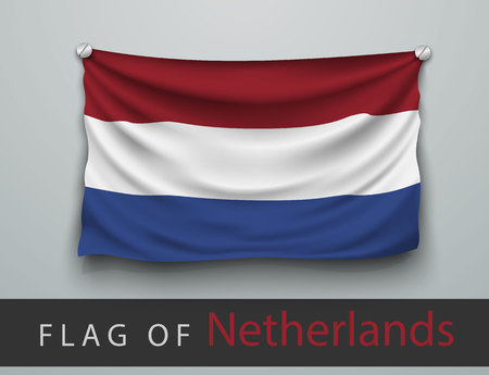 screwed: FLAG OF Netherlands battered, hung on the wall, screwed screws Illustration