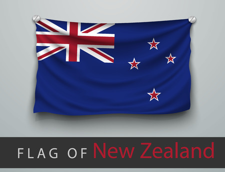 battered: FLAG OF new zealand battered, hung on the wall, screwed screws