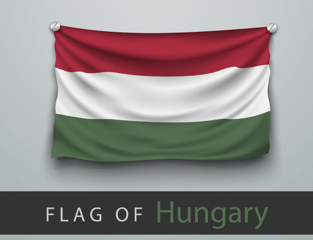 battered: FLAG OF hungary battered, hung on the wall, screwed screws