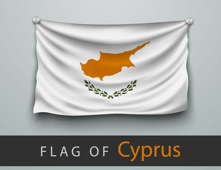 screwed: FLAG OF cyprus battered, hung on the wall, screwed screws Illustration