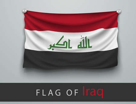 battered: FLAG OF iraq battered, hung on the wall, screwed screws