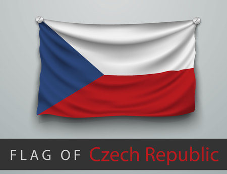 battered: FLAG OF Czech Republic battered, hung on the wall, screwed screws