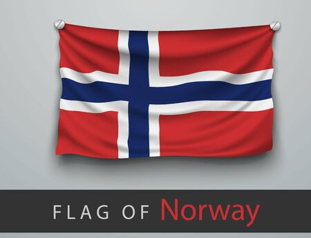screwed: FLAG OF norway battered, hung on the wall, screwed screws Illustration