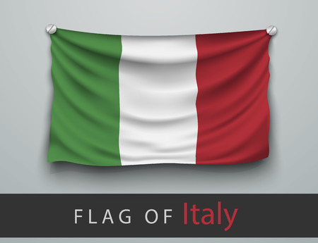 screwed: FLAG OF italy battered, hung on the wall, screwed screws Illustration