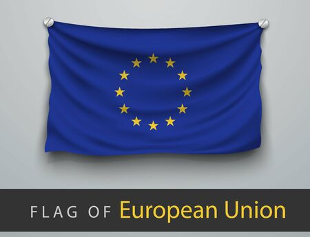 eu flag: FLAG OF european union battered, hung on the wall, screwed screws