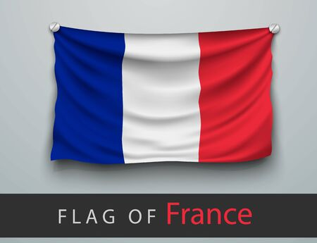 screwed: FLAG OF france battered, hung on the wall, screwed screws