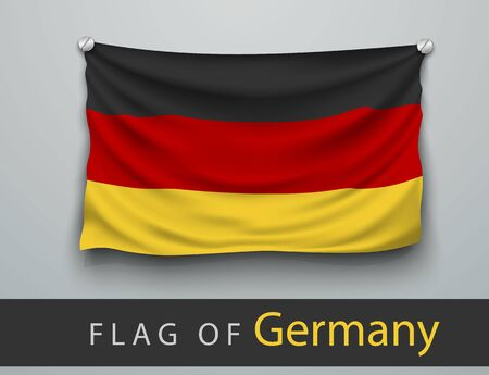 screwed: FLAG OF germany battered, hung on the wall, screwed screws Illustration