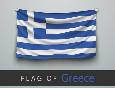 battered: FLAG OF greece battered, hung on the wall, screwed screws