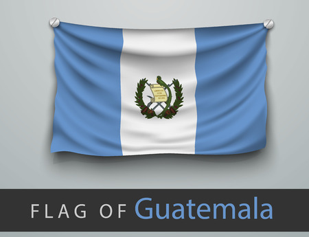 battered: FLAG OF Guatemala battered, hung on the wall, screwed screws