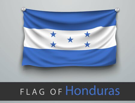 wallpaper  eps 10: FLAG OF honduras battered, hung on the wall, screwed screws