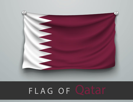 screwed: FLAG OF qatar battered, hung on the wall, screwed screws