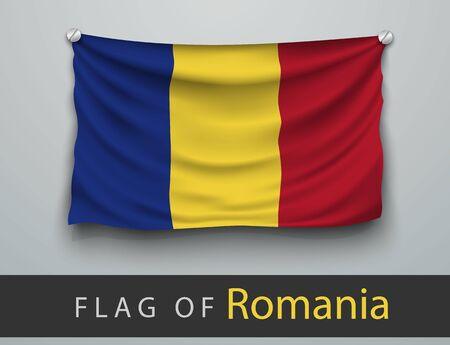 screwed: FLAG OF romania battered, hung on the wall, screwed screws Illustration