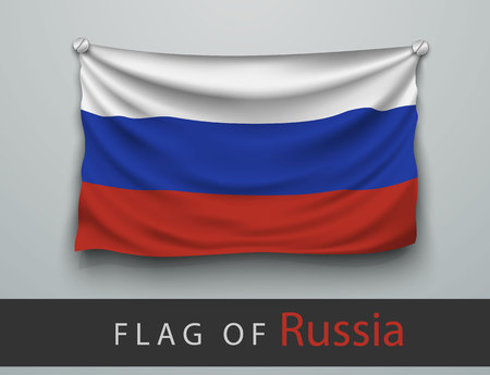 screwed: FLAG OF russia battered, hung on the wall, screwed screws Illustration