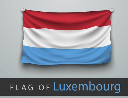 wallpaper  eps 10: FLAG OF Luxembourg battered, hung on the wall, screwed screws Illustration