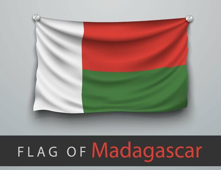 screwed: FLAG OF madagascar battered, hung on the wall, screwed screws