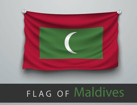 screwed: FLAG OF maldives battered, hung on the wall, screwed screws